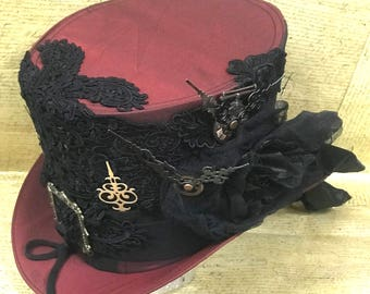 Steampunk Maroon Wine Top hat with Black Contrast ,black laces and Gold Victorian original clock hands in 3 sizes 57,58,59cm