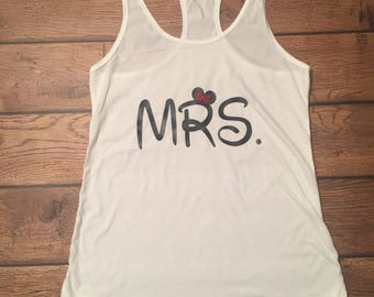 Disney Mrs. Shirt, Mrs., Mickey, Disney, Wedding Shirt, Engagment Shirt, Future Mrs. Shirt, Wife Shirt, Bride Shirt, Gift for Bride, Tank