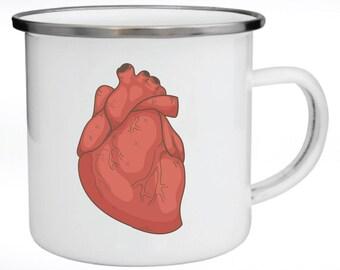 Enamel Mug, Metal Mug, Valentine's Day Gift, Gift for Couples, Anatomic Heart