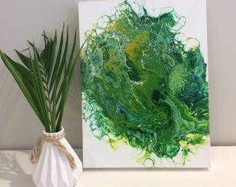 "Acrylic fluid painting ""Lemon/Lime Delight"""