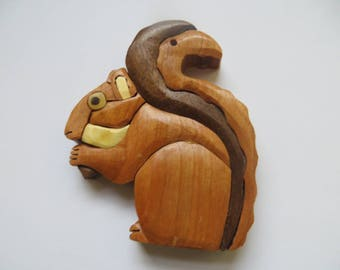 Intarsia Squirrel Ornament - Magnet