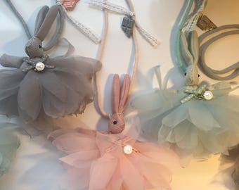 EASTER BUNNY & CHOCOLATE Necklace, Girls Necklaces, Kids Jewelry, Easter Gift, Girls Birthday Gift, Girls Bunny Outfit