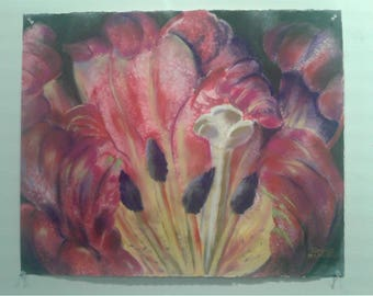 Parrot Tulips Watercolor Painting