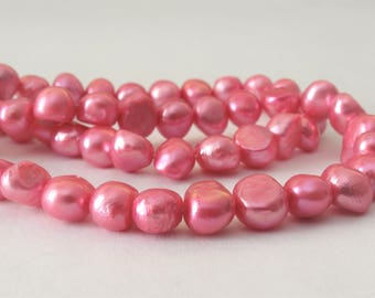 7-8 mm Full Strand Pink Potato Nugget Pearl Beads, Genuine Freshwater Pearl Beads, Cultured Pink Nugget Freshwater Pearl Beads (PNPK-019)
