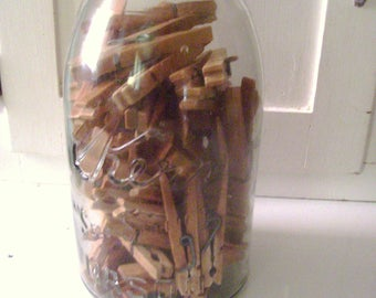KERR Canning Jar with Cloths Pins-Rustic Decor, Country Decor,Kitchen Decor