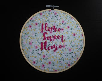 "Hand embroidered 'Home Sweet Home' 6"" decorative hoop"