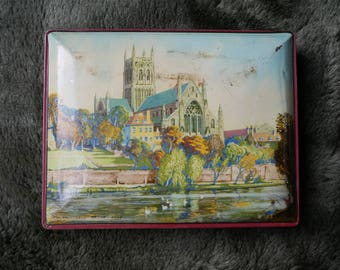 Vintage Blue Bird Toffee Tin Worcester Cathedral Picture England