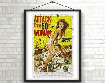 Collection of 4 x Hi Res old classic film prints, movie poster, retro Wall art, film decor, movie illustration, film art, home Decor,