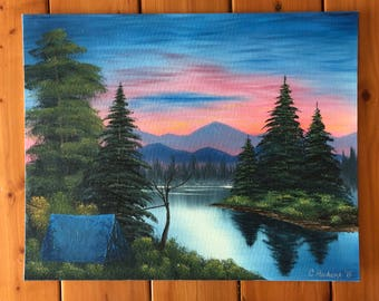 Original oil painting sunset camping signed