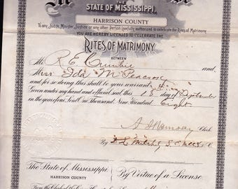 Mississippi Marriage License 1908