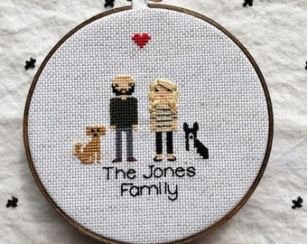 4 Figure Cross Stitch Family 2nd Anniversary Gift Modern Cross Stitch Couple Wedding Cotton Portrait Custom Pixel People Pet Dog Portrait