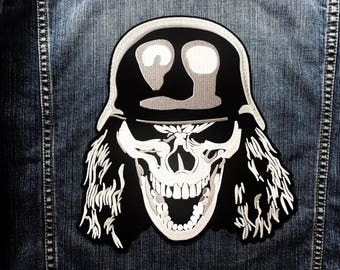 LARGE SIZE Skull Helmet Dead Head Ghost Motorcycle Jacket Vest Sew Iron on Patch