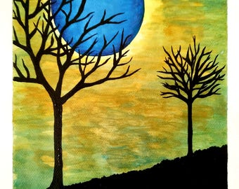 The Moon and Dead Trees - Watercolor and Acrylic on Paper - 9in x 12in (22.86cm x 30.48cm) - Nature Art Original Painting by LeslieA.