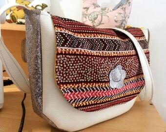 fabric flap shoulder bag