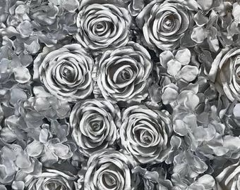 Silver Rose Flower Wall Roses Hydrangeas Artificial Flower Wall Wedding Decorations Fake Flower Greenery Flower Sale Square Silver Wholesale