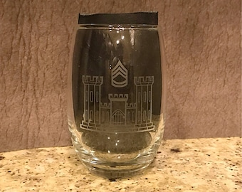 Etched Wine glass (with or without stem)