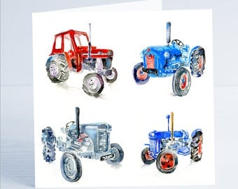 Four Traditional Tractors - Greeting Card - Taken from an original watercolour by Sheila Gill