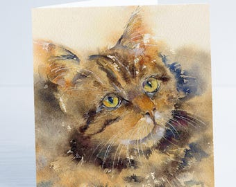 Here's Looking at You - Cat Greeting Card - Taken from an original Sheila Gill Watercolour Painting.