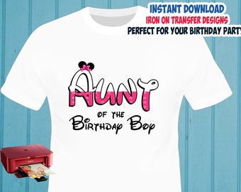 Minnie Mouse , AUNT , Iron On Transfer , Minnie Mouse Aunt Birthday Shirt Designs , Aunt DIY Shirt , Digital Files , Instant Download