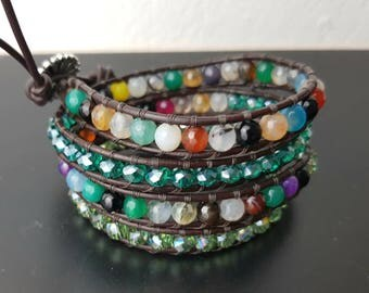 4 wrap bracelet, multicolor, with agate stones, leather cord!