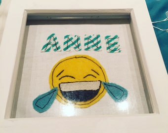 Personalised Sewn Laughing Emoji Frame