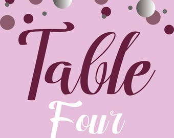 """Personalized Printable Table Number Signs - UP TO 10 NUMBERS - 4""""x4"""""""