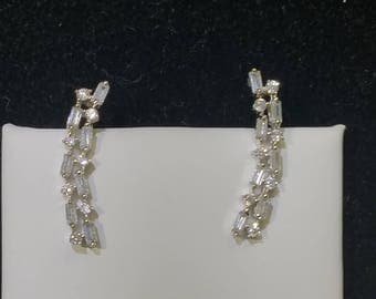 White gold plated Sterling silver and CZ ear climbers / earrings