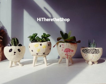 The Very Fun Collection - Ceramic, handmade, succulent pot, small planter, cactus pot, plant pot, home studio pottery.
