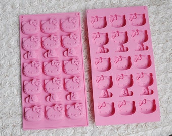 15 Grid Cartoon ,Cat Hello Kitty ,Silicone Biscuit,Cake,Fondant,Pudding,Cookie,Jelly,Chocolate Mold, Cake Decoration Tools