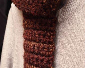Handmade Crocheted Rust Scarf