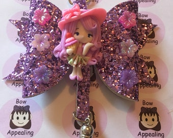 Purple glitter bow bag charm with clay figure, glitter bow, bag charm, for women and girls