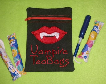 Vampire Tea Bags Zipper Bag with full PUL waterproof lining perfect for CSP, Moon Cup and standard disposable sanitary products. Large Size