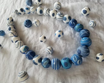 Unique  blue and white round polymer clay beads