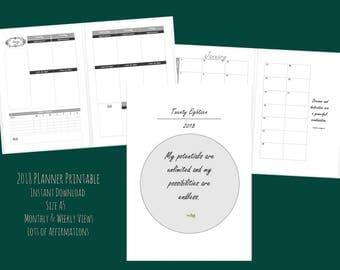 2018 Planner Printable | A5 | Affirmations | Instant Download