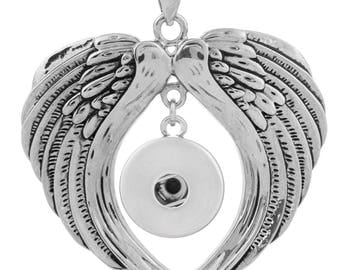 Snap Jewelry Necklace 20mm Angel Wings