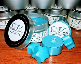8 oz Soy Candle in Tin - Clean Cotton | Scented Candles | Handmade | Hand Poured | Cruelty Free | Gift Ideas | Blue Candles | Fresh & Clean
