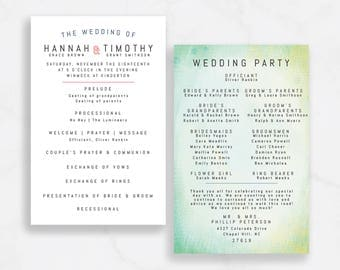 Modern Bold Wedding Stationery, with painted, abstract background / Customizable / Ceremony Program  // Printable PDF