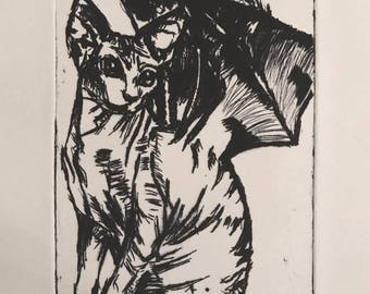 Sphynx Bat Intaglio Print