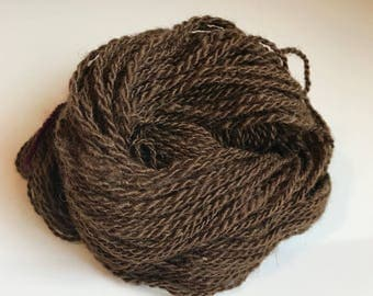 Handspun 2-ply yarn ~ 100% wool from home-raised Finn/Shetland cross Sheep