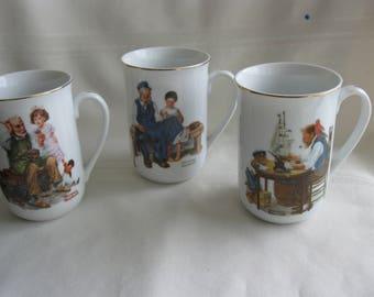 3 Norman Rockwell mugs
