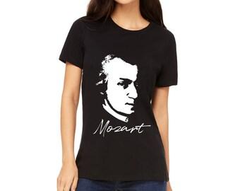 WOMEN'S SHIRT Wolfgang Amadeus Mozart T-Shirt Mozart Portrait Shirt   Classical Composer Shirt   Classical Music Gift   Composer Gift Shirt