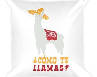 Como Te Llamas Funny Llama Spanish Word Humor Square Throw Pillow