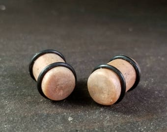 11mm / 7/16in Swirled Copper/Beige Speckled Clay Ear Plugs