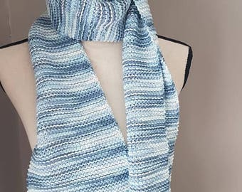Hand knit scarf, blue and white, handmade