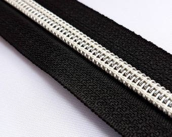 Nylon Coil Continuous Zip, silver teeth zip by the metre (pulls sold separately)