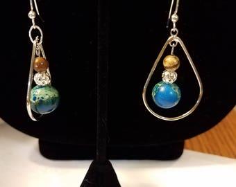 Light Blue & Silver Drop Earings