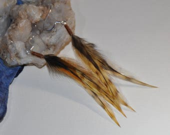 Feather earrings--natural, earthly colors
