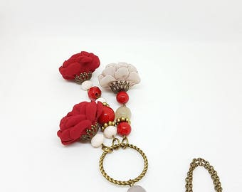Necklace, Minimal Necklace, Flower Necklace, Boho necklace, Floral necklace, Red necklace, Pendant, Flower Pendant, Red Pendant, Handmade