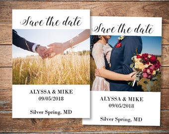 Custom save the date with photo Personalized save the dates card template Editable save-the-date invitation Vintage invitation card DIGITAL