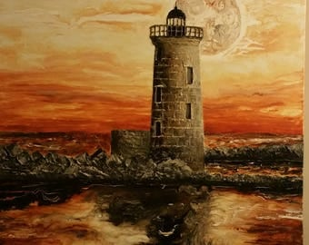 My lighthouse / painting of mixed/painting/decor / Modern Art / party / 2018